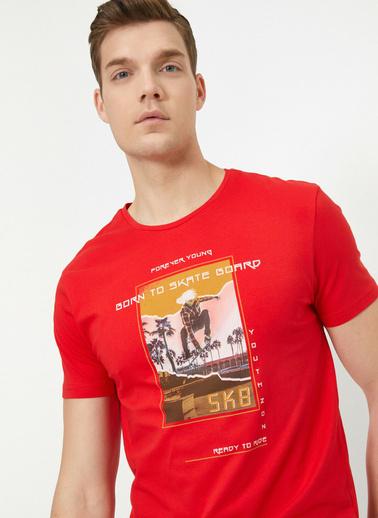 Koton %100 Pamuklu Bisiklet Yaka Yazılı Baskılı T-Shirt Kırmızı
